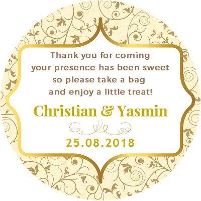 Onesto Gloss Oro Personalizzato Matrimonio Fidanzamento Favore Poesia Grazie Party Bag Etichette- Irrestringibile