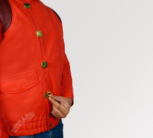 BEST QUALITY FREE SHIPPING! Akira Kaneda Red Faux Leather Men/'s Fashion Jacket