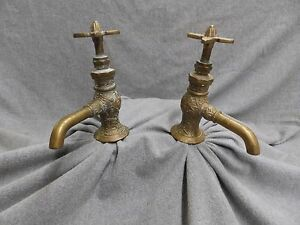 Image Is Loading Antique  Decorative Brass Eastlake Separate Hot Cold Faucets
