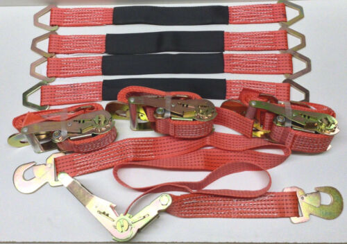 Set Of 4 - 6ft Ratchet Tie Down Straps w/Flat Hooks & 4 - 2 Ft Axle Straps Red