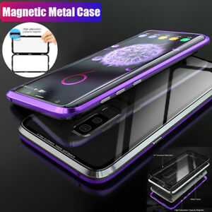 online retailer db3cb 972b6 Details about Magnetic Adsorption Metal Case F Samsung Galaxy S9 S8+  PlusTempered Glass Cover