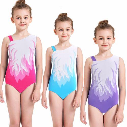 Kids Girls Rinestone Gymnastics Leotards Sport Training Ballet Dance Tank 5-14Y