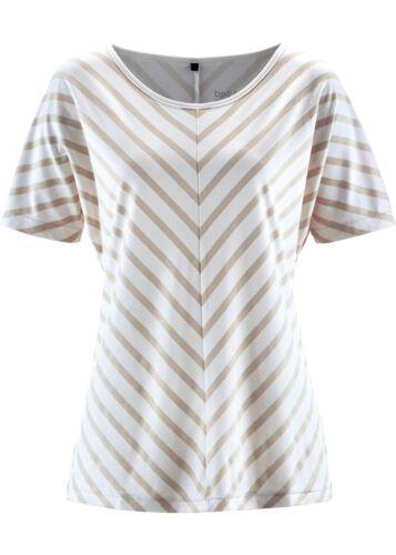 Damen T-Shirt Streifen kurzarm Shirt Bluse Tunika Top wollweiss BPC 928608