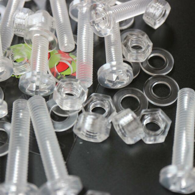 60 x Acrilico Bulloni e Dadi M6 x 40mm in Plastica Trasparente - Acrilico Viti