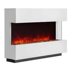 elektrischer kamin ofen led flammen simulation heiz l fter k rper heizung weiss ebay. Black Bedroom Furniture Sets. Home Design Ideas