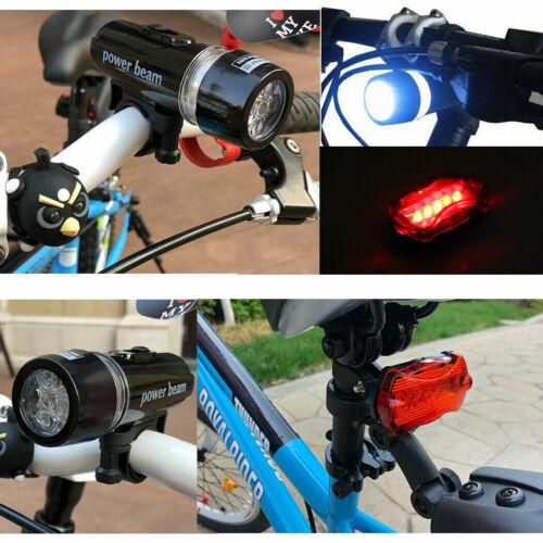 Waterproof 5 LED Lamp Bicycle Bike Front Head Light+Rear Safety Flashlight 2 Set