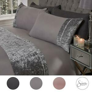 Sienna-Crushed-Velvet-Diamante-Band-Duvet-Cover-with-Pillowcase-Grey-Bedding-Set