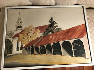 Huge-Anne-Steele-Marsh-034-Carriage-Sheds-034-Watercolor-Painting-Signed-And-Framed