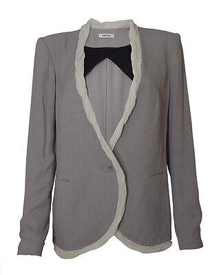 Helmut Lang Spring 2011 Relic Chiffon Trim Gray Crepe Blazer Size S/M