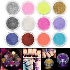 12 Mix Colors Glitter Powder For Nail Art False Acrylic UV Gel Tips Decoration