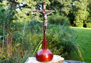 altes Standkreuz Kreuz Kruzifix Massivholz Metall Jesus Christus Sammlerstück