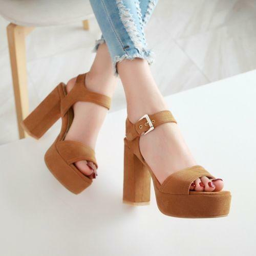 Lady Chunky High Heels Shoes Platforms Buckle Strap Open Toe Casual Sandals Size