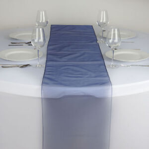 Details About Navy Blue Organza 14x108 Table Runner Wedding Party Tabletop Dinner Decorations