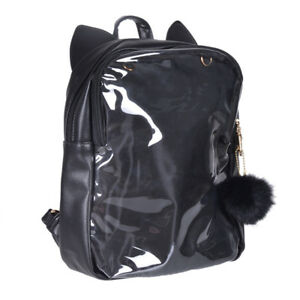 Details about Cute Transparent Clear Candy Jelly Black Cat Ears Shoulders  Bag Backpack Itabag