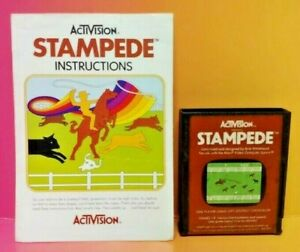 Atari-2600-Stampede-Game-amp-Instruction-Manual-Tested-Works-Rare