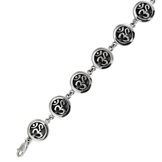 Sterling Silver Om Aum Symbol Link Bracelet Hindu Buddhist Yoga Ohm