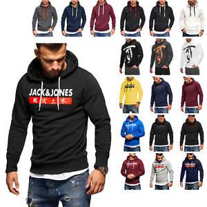 Jack-amp-Jones-Herren-Hoodie-Kapuzenpullover-Sweatshirt-Print-Hoody-Sweater-SALE