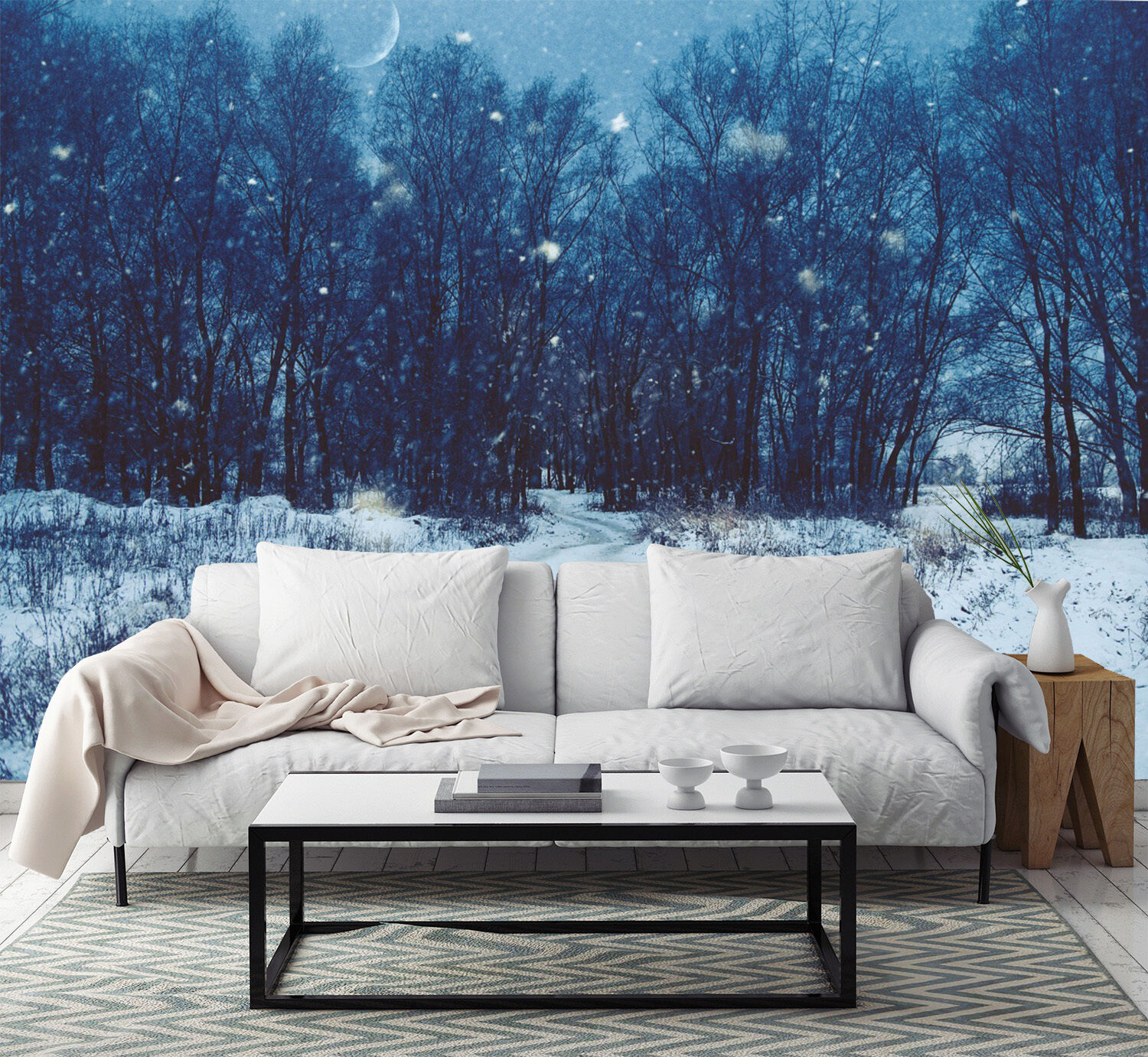 3D forest snow Weiß star Wall Paper Print Decal Wall Deco Indoor wall Mural