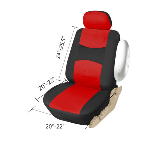 853 Bk//Red Car Seat Covers 2 Front PU Leather Airbag Truck SUV Van All Seats