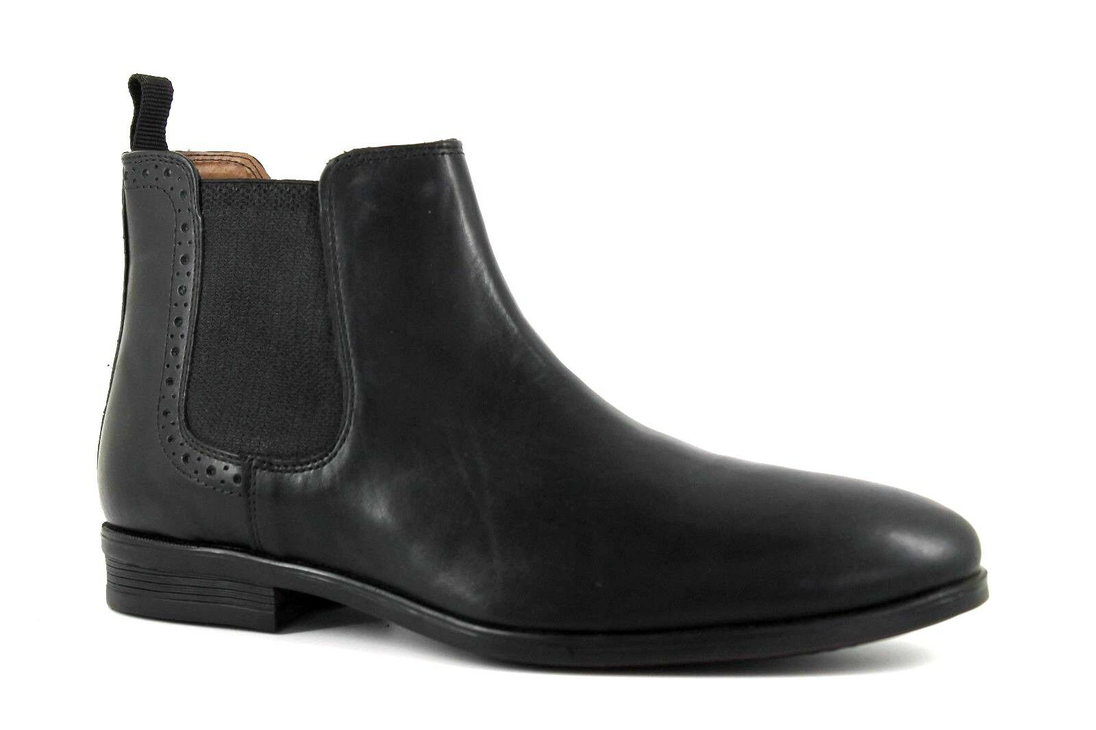 Burton Mens UK 11 EU 45 Black Leather Pull On Low Heel Chelsea Ankle Boots