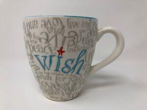 Starbucks-WISH-Coffee-Mug-13oz-2005-White-Blue-Christmas-Holiday-Collectible-Cup