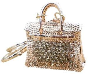 Handbag-Charm-034-H-034-Bling-Crystals-Rhinestone-Keychain-Ring-Holder-ELEGANT-GOLD
