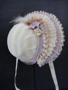 Sombrero-para-Muneca-Antigua-12-13-Tour-de-Cabeza-38-41-cm-Doll-Hat-N79-Violin
