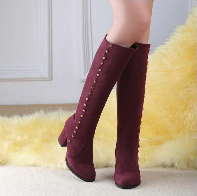 Womens Knee High Boots Rivets Block Heels Round Toe shoes Fashion Side Zipper