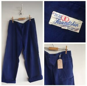 True-Vintage-Chinese-Blue-Cotton-Chore-Workwear-Artisan-Trousers-Pants-W36