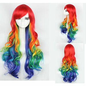 Gorgeous Rainbow Gradient Mode Lang Gewellt Perücke Pretty Lolita Cosplay Haar