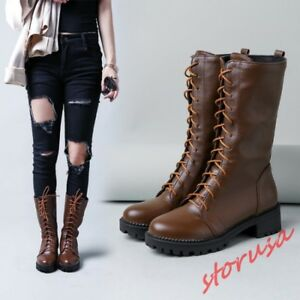 Womens Lace Up Mid Calf Riding Boots