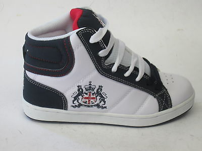 BOYS 08015 CASUAL HI TOP GREAT BRITAIN UNION JACK TRAINER LACE UPS