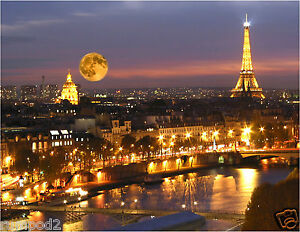 Paris Poster Eiffel Tower At Night Moon At Night France French Poster 17x22 In Ebay
