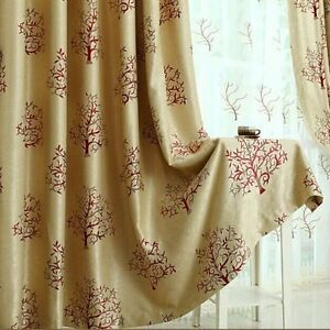 Image Is Loading 2 X Blockout Eyelet Curtains Floral Light Tan