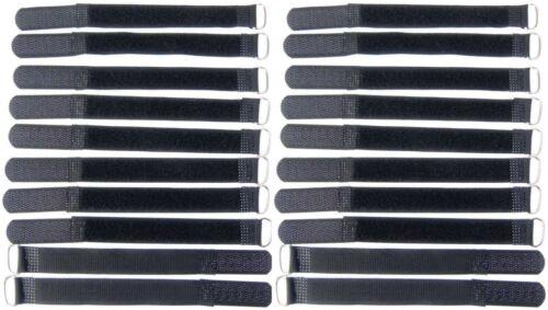 20x Kabelklettband 16cm x 16mm schwarz Klettband Klett Kabel Binder Band mit Öse
