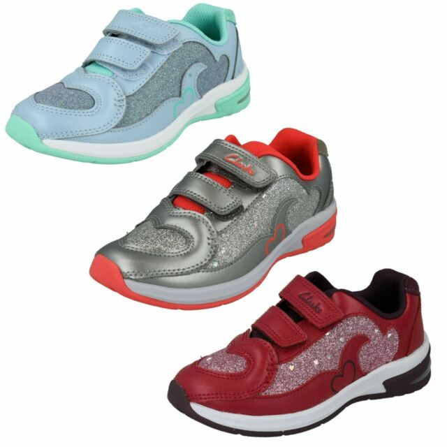 Clarks PIPER PLAY SILVER Girls Leather Shoes Trainers 7-12.5 EFGH NEW BOXED