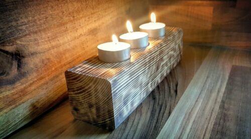 Handmade Natural Wooden Candle Holder Rustic Vintage bar UK Seller