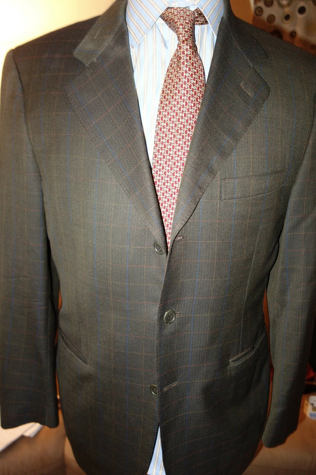 Canali Dark Green bluee orange Plaid Wool 3 Btn Sport Coat 42R