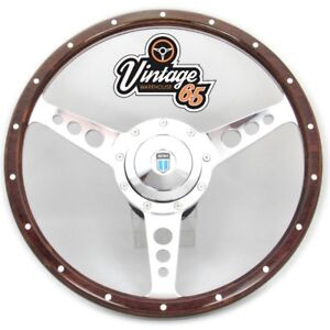 Classic-Austin-Rover-Mini-14-034-bois-jante-Volant-amp-Raccord-Boss-badgee-Horn