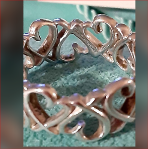 Tiffany & Co Picasso Loving Hearts Band Ring Vintage, Rare, Sterling Silver Sz 7