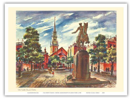 Old North Church Boston Massachusetts Feher Vintage Airline Travel Poster Print