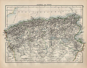1900 VICTORIAN MAP AFRICA ALGERIA TUNIS eBay