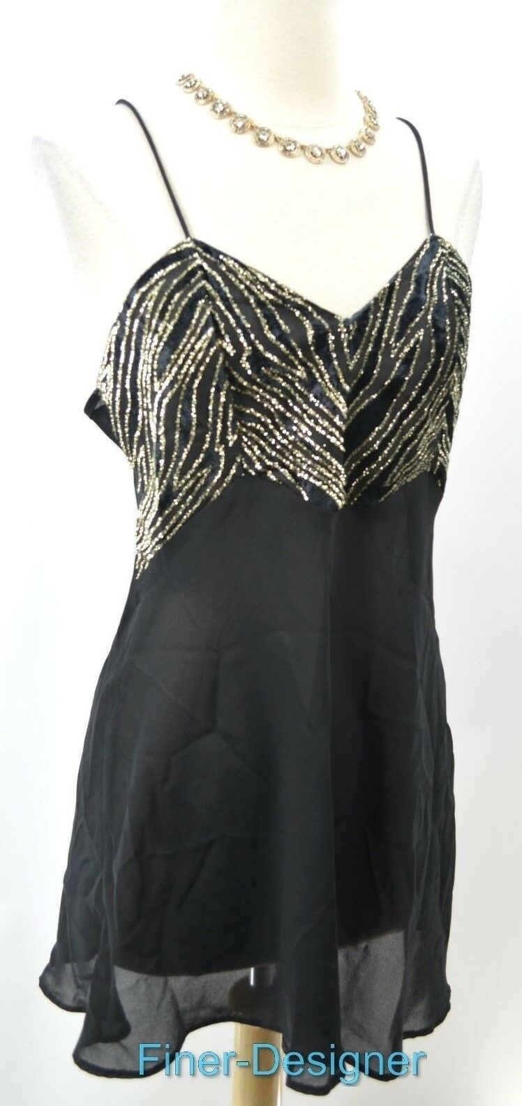 Cliche Couture nightgown Nightie Cami Sexy teddie teddy gold metallic Size M NEW