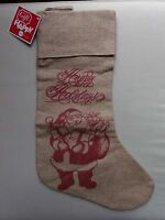 Hsn Burlap Fabric Lined Gift Christmas Stocking Santa Claus Happy Holidays