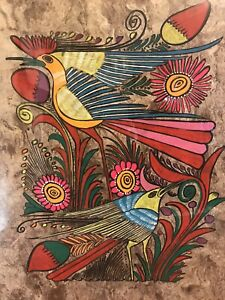 MEXICAN-NATIVE-PEOPLE-SCENE-PAINTING-LATIN-ETHNIC-FOLK-ART-CRAFT-HOME-DECOR