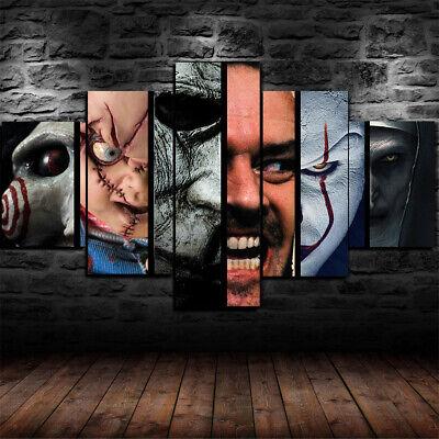 Framed Horror Movie Scary Character Poster Canvas Print Wall Art Decor 5 Piece Ebay