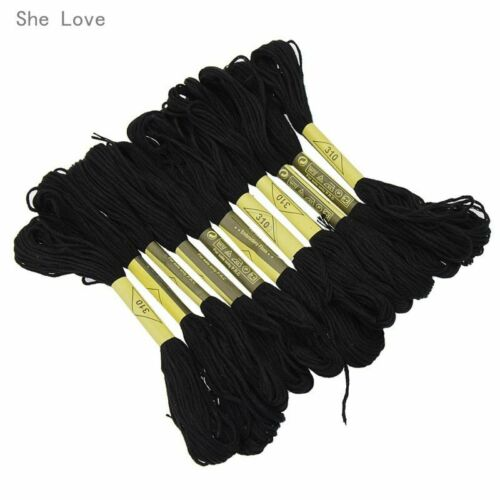 12pcs Black Anchor Cross Stitch Cotton Crochet Embroidery Thread Floss Skein 8m