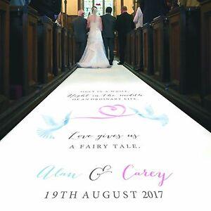 Personalised WEDDING AISLE RUNNER. Church Wedding Carpet Decoration. 20ft - 30ft