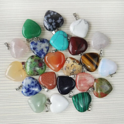 New Natural Heart-shaped Reiki Chakra Pendant Charms Beads For Necklace 15mm