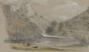 Ellis, Cows Grazing, River Derwent, Matlock – Mid-19th-century graphite drawing